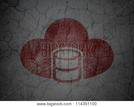 Cloud computing concept: Database With Cloud on grunge wall background