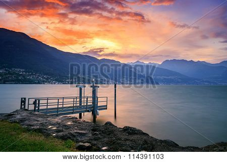 Stormy Sunset In Lake Como