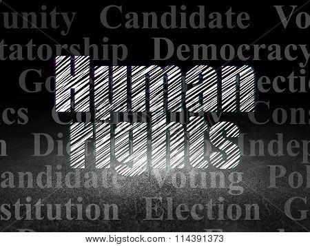 Politics concept: Human Rights in grunge dark room