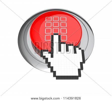 Mouse Hand Cursor On Red Keypad Button. 3D Illustration.