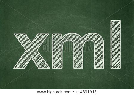 Software concept: Xml on chalkboard background
