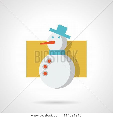 Snowman with blue hat flat color vector icon