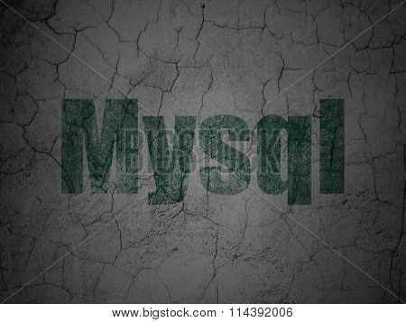 Database concept: MySQL on grunge wall background