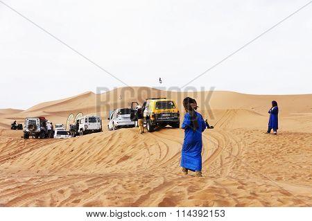 ERG CHIGAGA, SAHARA DESERT, MOROCCO, OCTOBER 24 2015: All wheel drive vehicles at a rally in Shara Desert, Morocco, Africa