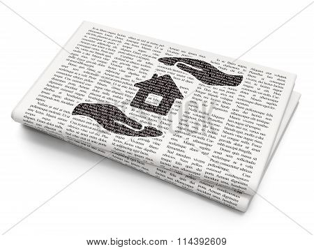 Insurance concept: House And Palm on Newspaper background
