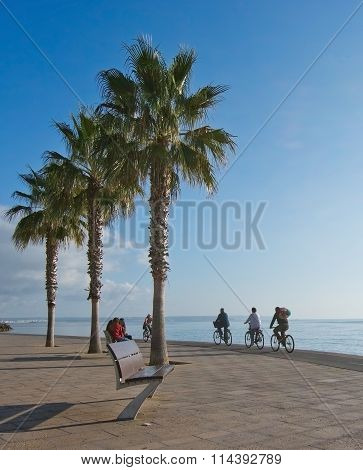 Bicyclists On The Molinar Boardwalk