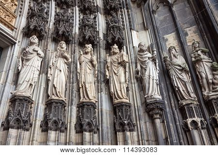 Details Of Facade Of Cologne Cathedral, Germany