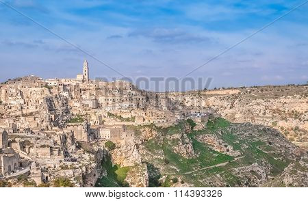 Panoramic View Of Typical Stones (sassi Di Matera) And Church Near Gravina Of Matera Unesco European