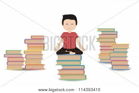 Man Meditates On A Pile Of Books