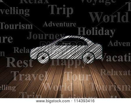Vacation concept: Car in grunge dark room