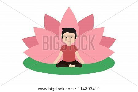 Calm Guy Is Doing Yoga And Sitting In The Lotus Position.