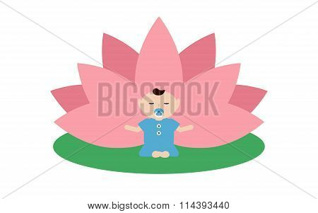 Baby Is Doing Yoga And Sitting In The Lotus Position.