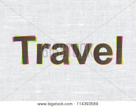Travel concept: Travel on fabric texture background