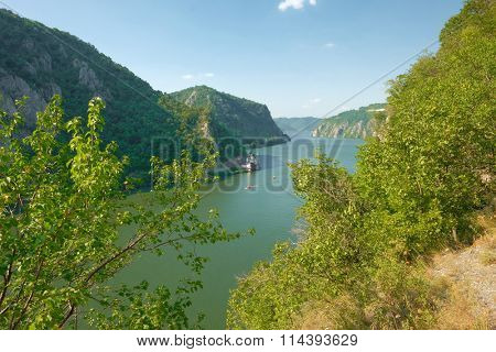Danube River and Mraconia monastery in Romania from Serbian side