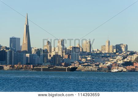 San Francisco, CA - December 31, 2015:Sause Bros ship the Morro Bay being towed out of, San Francisco the morning of December 31, 2015.