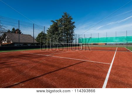 Tennis court on a private property