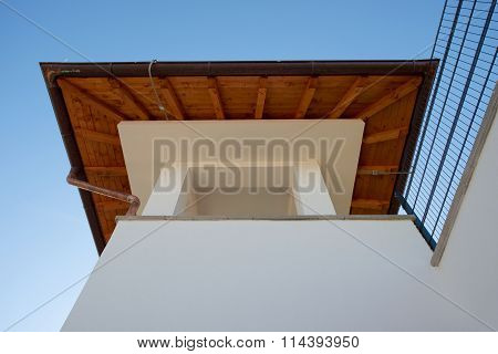 Top of spanish style roof at luxury villa house exterior