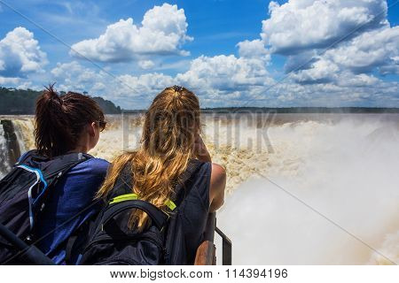 Tourists At Devil's Throat, Iguazu Falls, Argentina