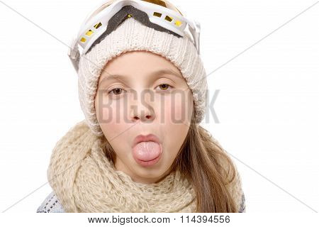Teenage Girl Sticking Her Tongue Out Isolated On White