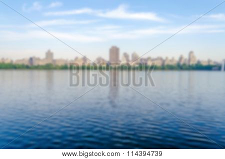 Defocused Background With Reservoir In Central Park, New York City