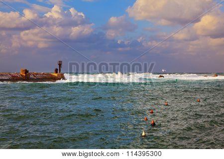 Old Jaffa seaport in the storm. Tel Aviv, Israel