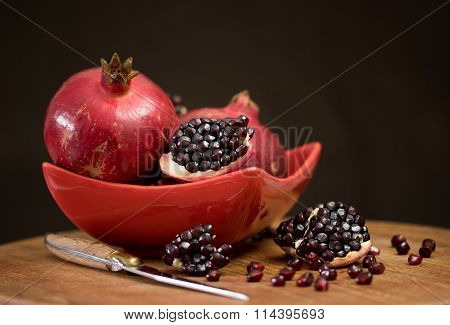Two red pomegranates