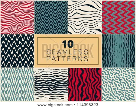 Set Of Ten Vector Seamless Hand Drawn Rough Line Patterns In Blue Red Navy And White Colors