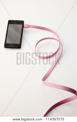 smart phone connected with the pick usb cable