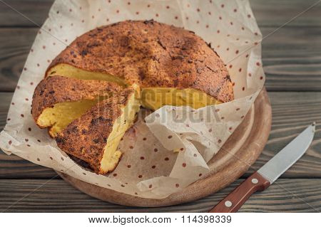 Cheese casserole on wooden background
