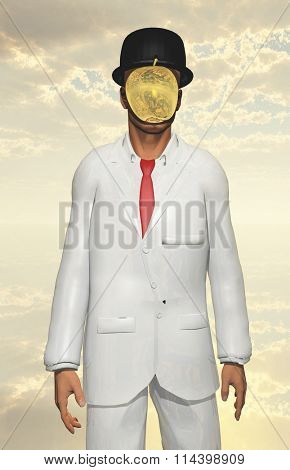 Man in white suit with face hidden by metallic apple