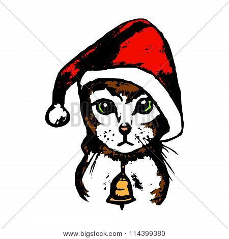 Kitten Santa Claus Hat (color)