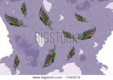 Abstract Butterflies Grunge Purple