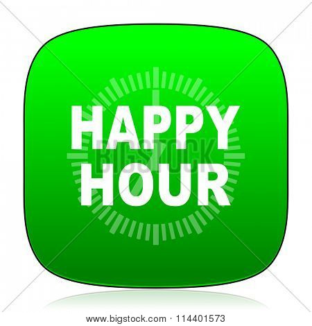 happy hour green icon for web and mobile app