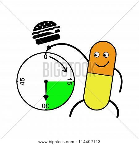 Illustration Vector Capsule Pointing Clock And Hamburger Above, Medicine After Meal.