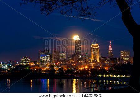 Moonrise Behind Cleveland