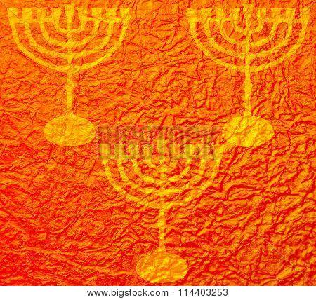 Hanukkah colorful gold metallic background
