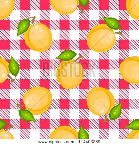 Tartan plaid with apricots seamless pattern.