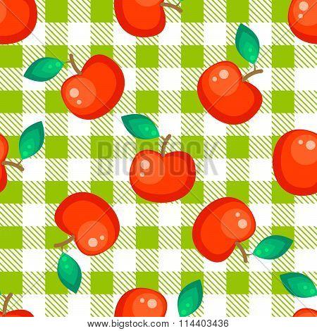 Tartan plaid and red apple seamless pattern.