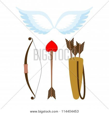 Cupid Weapons Set . Bow And Arrow With Heart. Quiver With Arrows. Angel Wings. Cupids Wings.