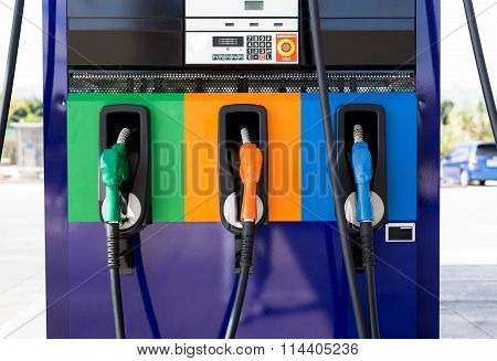 Front Oview Of Petrol Pump Filling