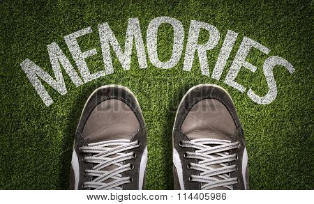 Top View of Sneakers on the grass with the text: Memories