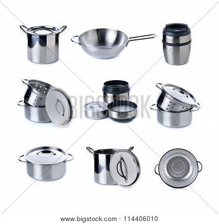 Mixed Kitchenware On White Background
