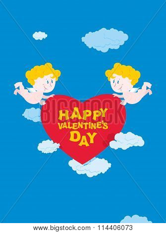 Romantic Valentine. Cupid And Heart. Happy Valentines Day. Two Good Angel Bear Heart. Cupid In Sky.