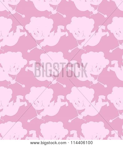 Cupid Seamless Pattern. Romantic Background Of Little Angels. Silhouettes Of  Lovely Angels. Texture