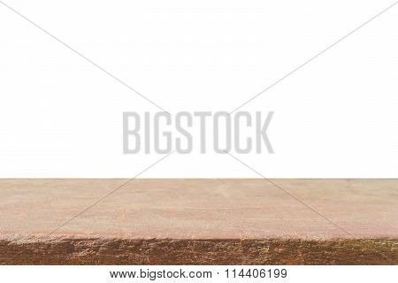 Empty top of brown sand stone countertop or table isolated on white background - can be used mock up