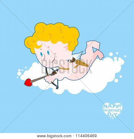 Cupid On Cloud. Little Angel In Clouds With Bow And Arrow. Quiver And Arrows. Sweet Valentine. Cupid