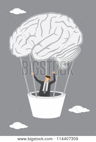 Businessman Going Up In Human Brain Hot Air Balloon