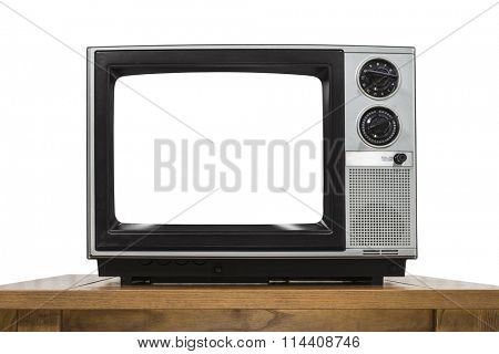 Analog television on white with cut out screen.