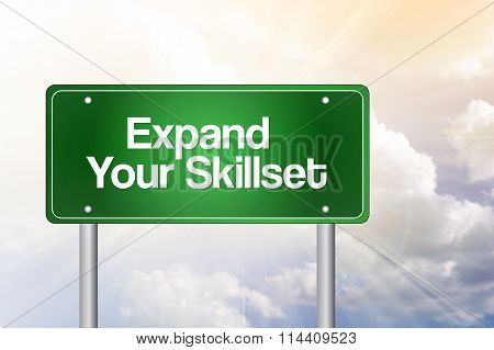 Expand Your Skillset Green Road Sign, Business Concept