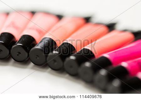 close up of lip gloss tubes